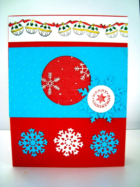 Hand made cards: Christmas Card - White Blue Snowflakes, Red and Blue, Jingle Bells, non traditional Christmas, hand stamped card by Wcards