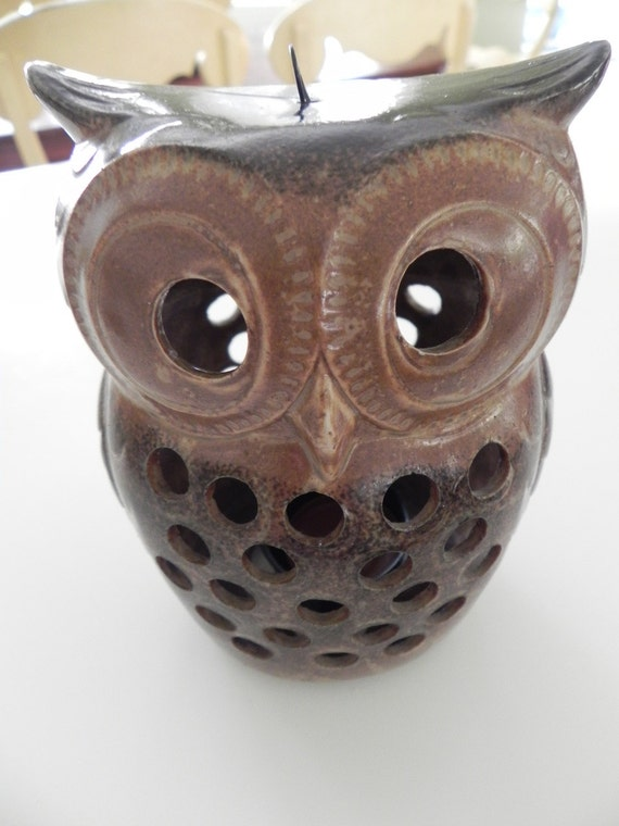 Ceramic Brown Owl Candle Holder For Votive Candle