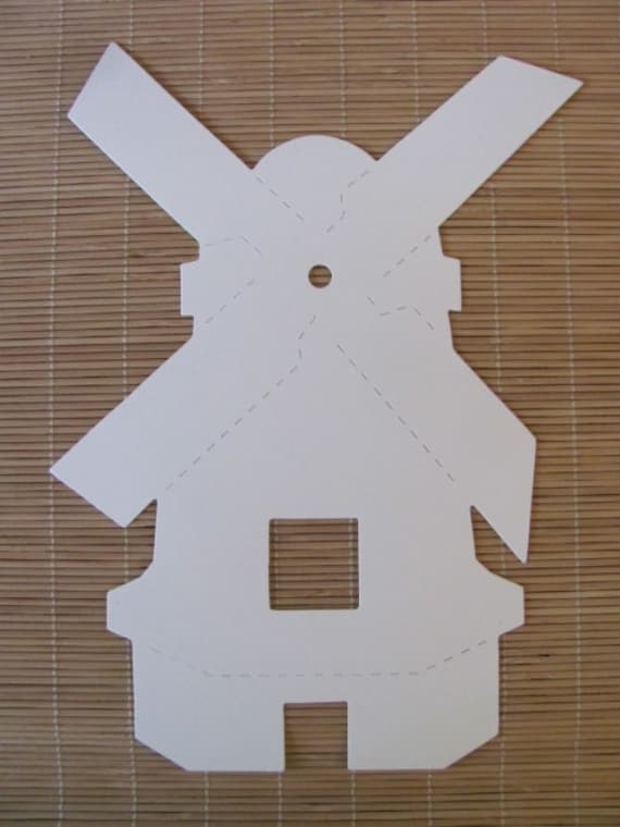 Windmill Die Cut ~ Choice of Color(s) ~ 5 for 3.75 (75c each) ~ Generator Tulips Mill Gristmill Wind Pump Turbine Tower Sail Paper Cardstock