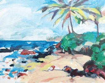 Original Painting of Ulua Beach, Wailea, Maui, Hawaii