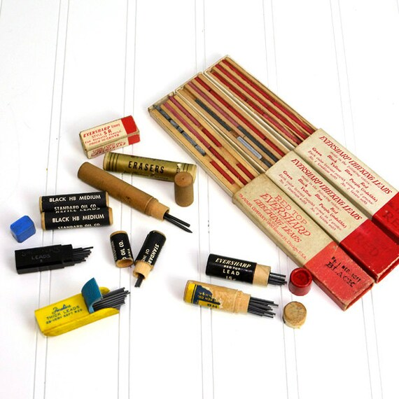Pencil Lead Refill Collection 1950's - Eversharp, Sheaffer's, Fineline Brands - Original Boxes - Instant Retro Home or Office Decor