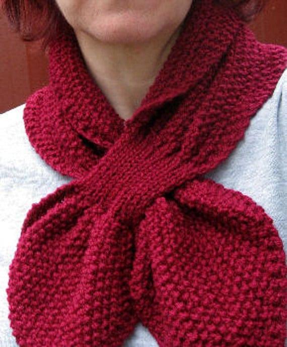 Textured Knit Keyhole Scarf Pattern - MOSS STITCH Keyhole Scarflette Knitting...