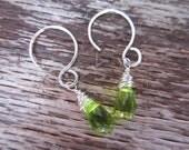 delicate peridot tear drop earrings
