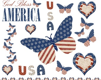 INSTANT DOWNLOAD - Stars and Stripes Patriotic Digital Clip Art Set - Red, White and Blue - For Personal and Commercial Use