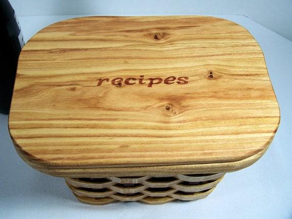 Recipe card box basket 5 x 7 cards  with lid honey locust wood scroll saw cut