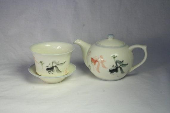 Goldfish Teapot, Cup & Saucer Set - Free Shipping