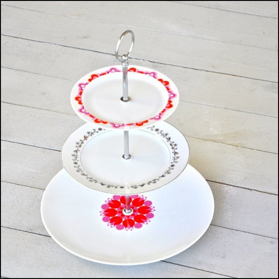 Tulips and Vines: Cake Stand Unique Wedding Gift Set Dessert Display Tiered Cupcake Stand