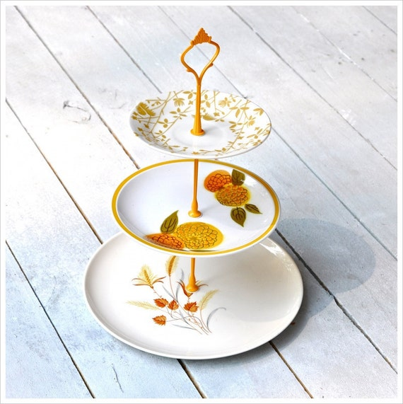 RESERVED Japanese Botanica: 3 Tier Cake Stand, Vintage China Stand, Mini Cupcake Stand, Yellow, Orange, Brown, Gray, Olive