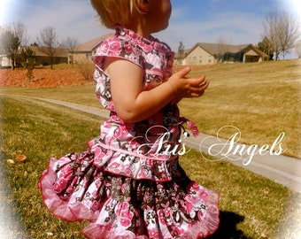 Ari's Angels 'Glamour and Glitz' Custom Boutique Outfit Glittery Shirt and Full Twirling Skirt