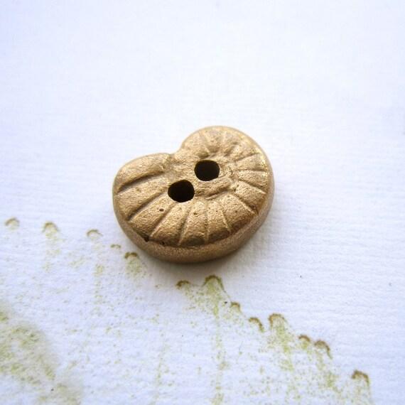 Handmade ammonite button, Button closure, Bronze  button,  - 1 single