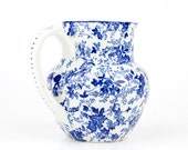 Vintage - Beautiful ceramic pitcher floral - blue and white - manufacture imperiale et royale  Nimy - made in Belgium