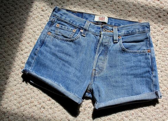 "LEVI Strauss vintage high waisted shorts 28"" Waist 501 denim size 4-6 button fly"