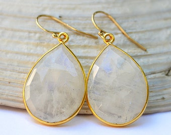 Rainbow Moonstone Earrings - Gold Earrings - Gemstone Earrings - June Birthstone Earrings - Tear drop earrings - dangle, Bridesmaid jewelry