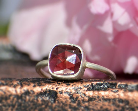 Faceted Garnet sterling silver cuchion square shape stacking bezel set ring - January Birthstone Ring
