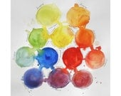 Mixing Colors Print from original watercolor painting, 8x8