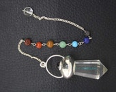 New Healing Crystal Faceted Pendulum With 7 Chakras Chain  ET A11/4
