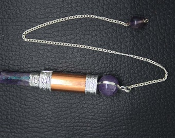 New Healing Amehyst Faceted pencil Pendant With Copper ET A20/1