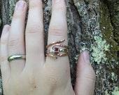 Garnet, Sterling & Copper Ring - Size 7.5