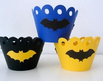 BATMAN inspired Cupcake wrapper /Superhero party /