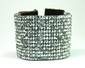 Skyler White Silver Wide Cuff Beaded Leather Bracelet - Chan Luu Inspired