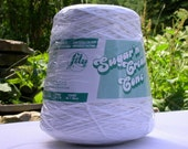 Reduced Price - White Sugar'n'Cream One Pound Cone 4 Ply Cotton Yarn by Lily