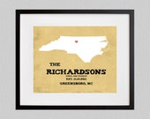 North Carolina -  Rustic Style Personalized State Map Art Print - 8.5x11 - also available in 13x19, 11x14, and 5.5x8.5 - see listing details