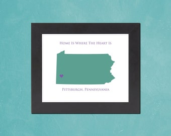 Pennsylvania - Home Is Where The Heart Is - 8.5x11 Personalized Map Art Print - also available in 13x19 and 5.5x8.5 - see listing details