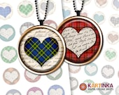 PLAID HEARTS - 1 inch and 1.5 inch and 7/8 inch Circles Digital Collage Sheet Printable Download for Pendants Magnets