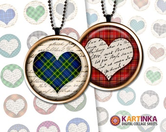 1 inch 25mm 1.5 inch 7/8 inch Printable images PLAID HEARTS Digital download for Round pendants Bezel trays Glass cabochon Bottle caps Craft
