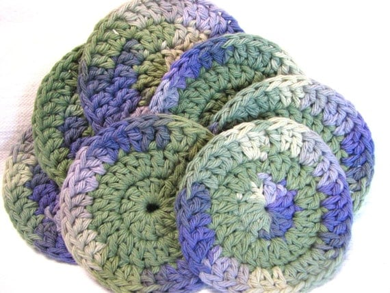 Eco face cloths, scrubbies, 100% cotton, crocheted, reusable and earth friendly, olive/multi, soft