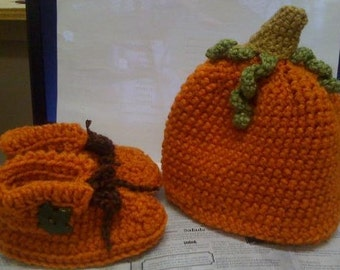 Pumpkin Hat and Booties