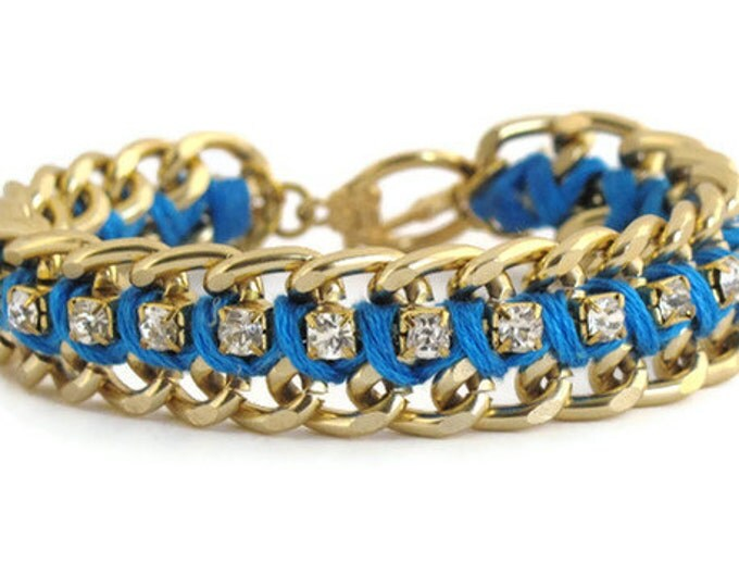 Turquoise Woven Chain and Rhinestone Bracelet