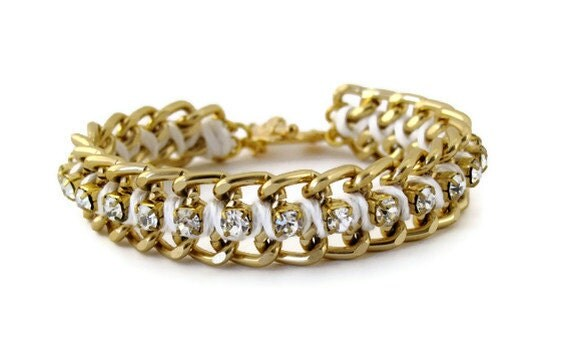 White and Gold Woven Chain Rhinestone Bracelet