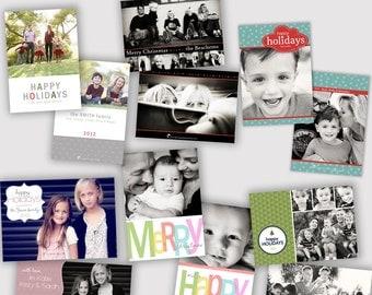 6 Holiday Photo Card Templates, Photographers, PSD, WHCC, 5x7 flat and folded, christmas photo card