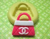 Fashion C Designer Logo Handbag Purse Flexible Silicone Polymer Clay Soap Chocolate Fondant Push Mold - Food Grade 24x23mm