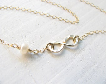 Infinity necklace, gold necklace,  pearl necklace, bridesmaid necklace, infinity jewelry, bridal necklace, friendship necklace, weddings