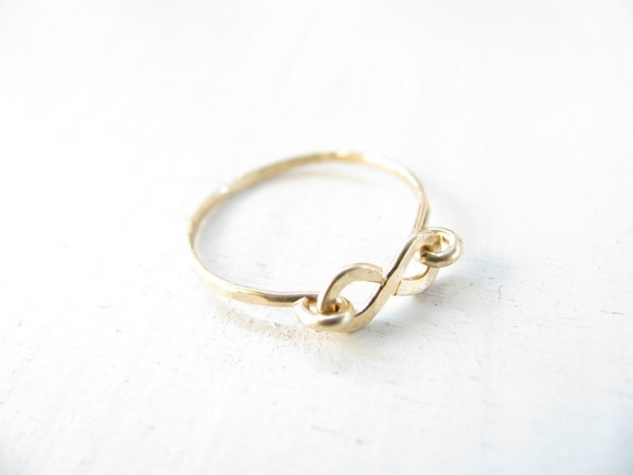 Infinity ring, gold ring, hammered gold ring, simple, delicate, everyday jewelry, simple ring gold filled
