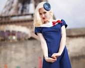 Ahoy Sailor 1950's fitted dress with white collar and bow. Red, White or Blue