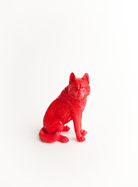 The Anders - Crimson Red Table Top Wolf Decoration - Animal Statue - Faux Taxidermy
