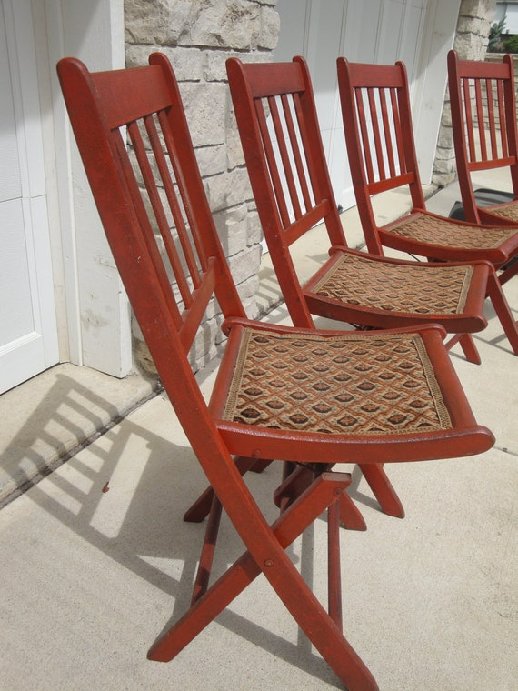 RESERVED Vintage Folding Chairs with Tapestry Seat Rust Orange Color - Set of 5