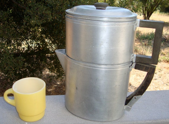 Vintage Wear Ever Aluminum Drip Coffee Pot Early Patent