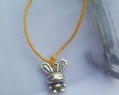 Love Bunny friendship bracelet on waxed cotton cord