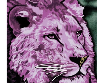 hand painted Lion art print, Rose purple and green, big cat artwork