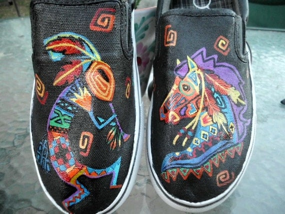 SPECIAL SALE Southwestern Native Tribal Style Kokopelli and War Horse Custom Painted Shoes Mens 8, Womans 9 9.5