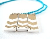Knotted Polymer Clay Pendant Necklace, Aqua Blue and Chevron Tribal Rectangles