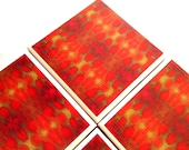 Ceramic Coasters Set Red Tile Abstract Tribal Gold Drink
