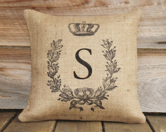 Monogrammed Burlap Pillow Cover, Feed Sack, Anniversary 16x16