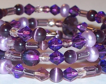 "Colorful ""Plumtastic"" Beaded Memory Wire Bracelet"