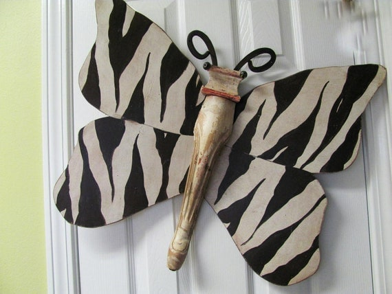 Table Leg Butterfly Wall Art- Brown and White Zebra Animal Print