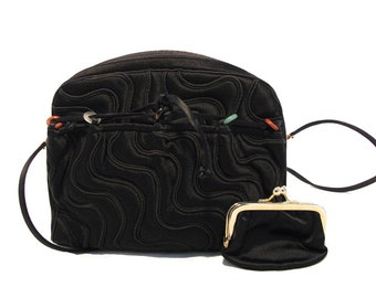 1980s Judith Leiber for Bonwit Teller Vintage Black Satin Wave Mini Shoulder Bag